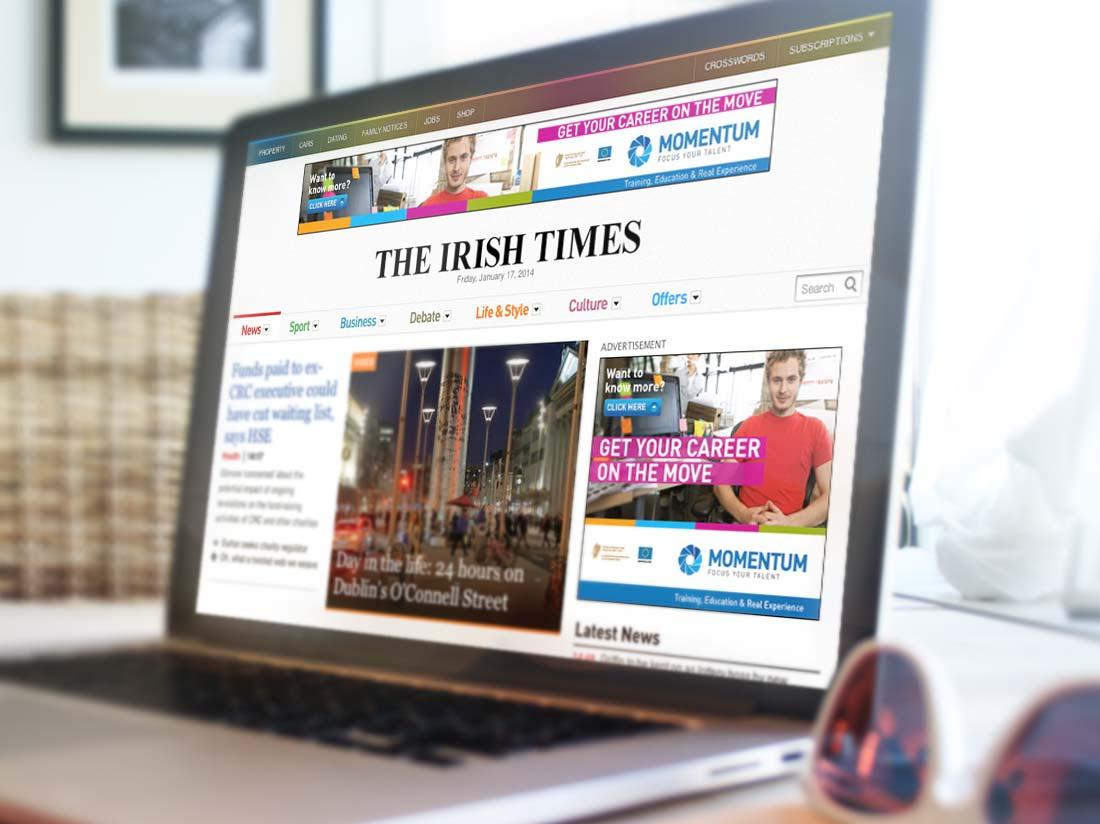 Momentum online campaing Irish Times